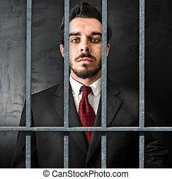 escuro, homem negócios, cadeia, jovem, fundo