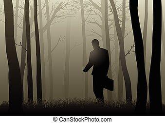 escuro, homem negócios, madeiras