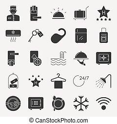 escuro, hotel, cobrança, ícones