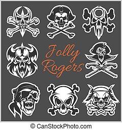 escuro, jogo, piratas, chapéu, tricorne, remendo, -, jovial, símbolos, experiência., vetorial, roger, esqueleto, bandana, capitão, crânios, ou, eye.