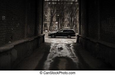 escuro, lado, de, a, rua
