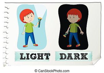 escuro, luz, adjectives, oposta