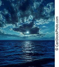 escuro, luz, sobre, lua, água, noturna