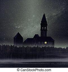 escuro, místico, castelo, floresta