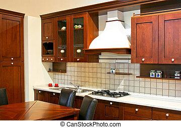 escuro, madeira, cozinha