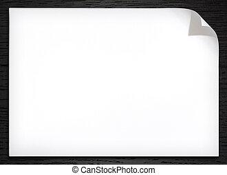escuro, madeira, papel, fundo, em branco, canto, branca,...