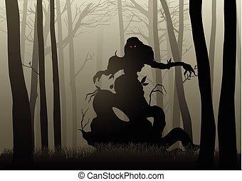 escuro, madeiras, monstro