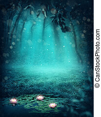escuro, magia, floresta