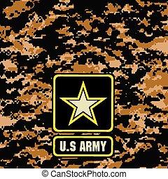 escuro, marrom, camuflagem, fundo, exército