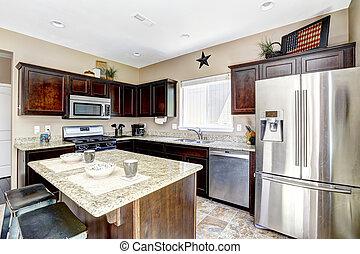 escuro, marrom, gabinetes, com, granito, tops., cozinha, sala, interior