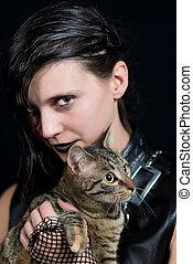 escuro, menina, gato
