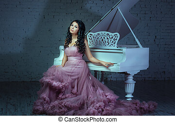 escuro, menina, sala, piano., sentando