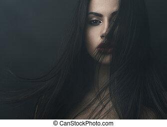 escuro, misteriosa, menina, nevoeiro, retrato