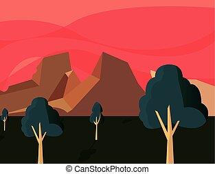escuro, montanhas, natural, árvores, paisagem