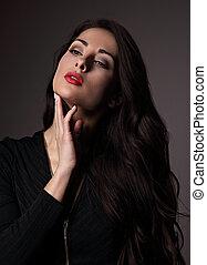 escuro, mulher, batom, místico, maquilagem, olhar, experiência., luminoso, closeup, excitado, retrato, sombra, vermelho