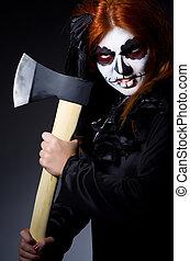 escuro, mulher, sala, monstro, machado