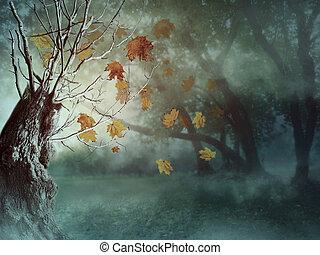 escuro, névoa, árvores