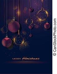 escuro, natal, saudação, com, baubles, e, bokeh