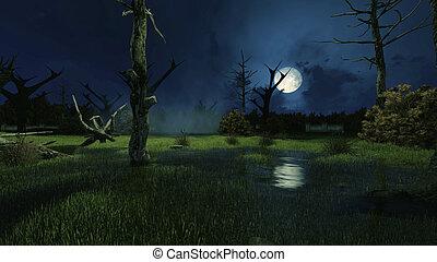 escuro, nebuloso, noturna, arrepiado, pântano