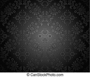 escuro, papel parede, real, seamless, damasco