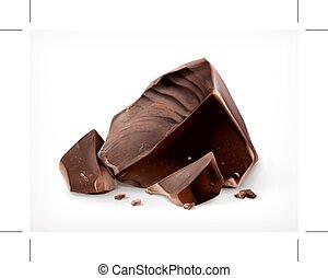 escuro, pedaços, chocolate, vetorial, ícone