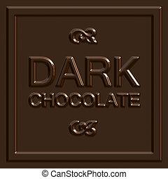 escuro, quadrado, chocolate