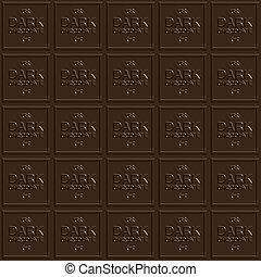 escuro, quadrados, chocolate