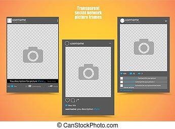 escuro, quadro fotografia, para, social, rede, quadro, com, luminoso, laranja, fundo amarelo, e, transparente, windows., isolado, vetorial, illustration.