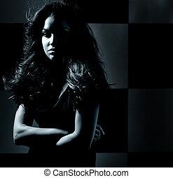 escuro, retrato, tema, mulher, jovem
