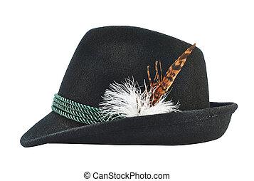 escuro, semelhante, chapéu, isolado, fedora