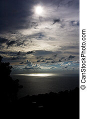escuro, sobre, andaman, céu, mar
