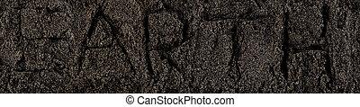 escuro, soil., pilha, de, sujeira, e, stones., vista superior, de, um, montão, de, ground., cima, macro, vista, com, texto, terra