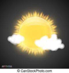 escuro, sol, nuvens, fundo, realístico