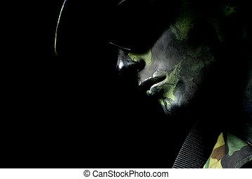 escuro, soldado, retrato