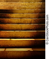 escuro, sujo, grunge, escadas
