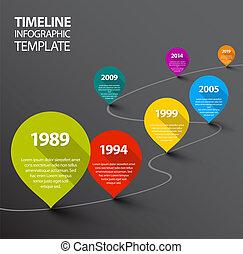 escuro, timeline, ponteiros, infographic, modelo