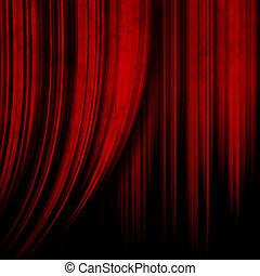 escuro, vermelho, teatro, cortina