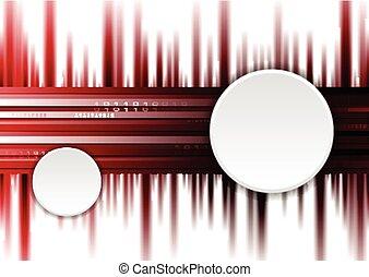 escuro, vermelho, tech, fundo, com, branca, círculos