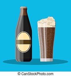 escuro, vidro, cerveja, robusto, garrafa