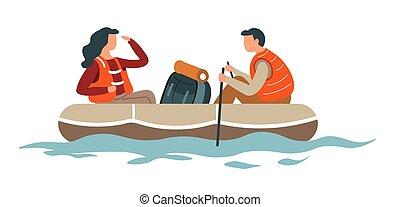 escursionismo donna, coppia, o, trasportando zattera, zaino, barca, uomo