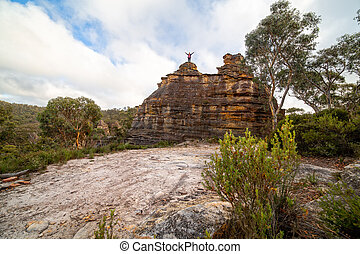 escursionista, castello, pagoda, cima, roccioso