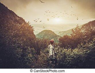escursionista, montagna, camminare, donna, foresta