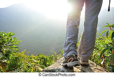 escursionista, montagna, donna, picco, stare in piedi