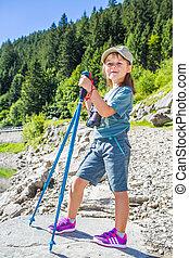 escursionista, montagne, giovane