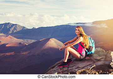 escursionista, montagne, godere, donna, fuori