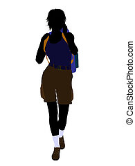 escursionista, ragazza, silhouette