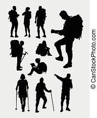 escursionista, silhouette