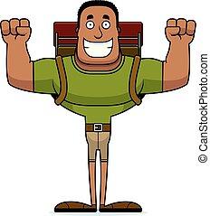 escursionista, sorridente, cartone animato