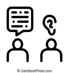escutar, esboço, vetorial, ilustração, falar, ícone