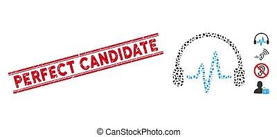escutar, linha, arranhado, candidato, colagem, selo, perfeitos, ícone